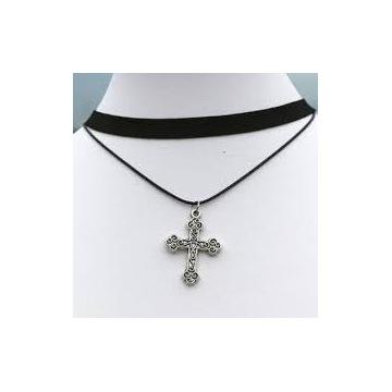 Naszyjnik klasyczny srebrny krzyż + czarny rzemyk