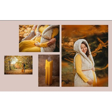 Suknia ciążowa do sesji - żółta, rozmiar L