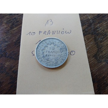 Moneta srebrna 10 franków 1965