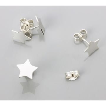 Piękne srebrne kolczyki duże gwiazdki 10 mm