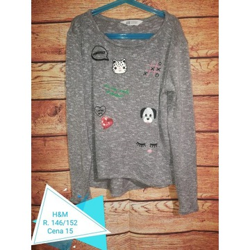 Cienki szary sweter, sweterek r. 146/152 H&M kotki
