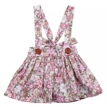 Spódnica Sukienka dziewczęca na szelkach Kwiaty 86