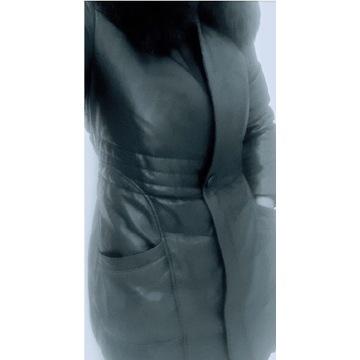 Płaszcz kurtka skóra kolor niebieski 38
