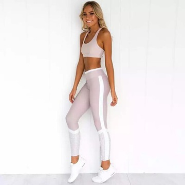 Super strój fitness. Top i legginsy push up NOWE