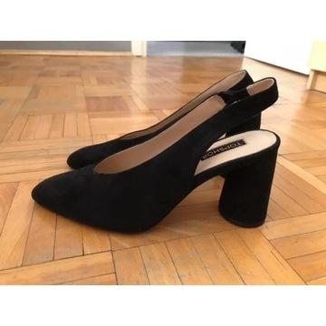 Czarne czółenka sandały bez pięty Topshop 37