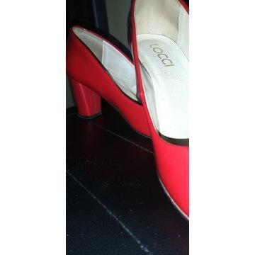 Buty ze skóry czerwone lakierowane