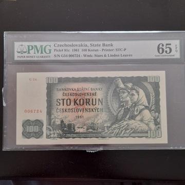 100 KORON 1961 PMG 65 EPQ piękny!!!