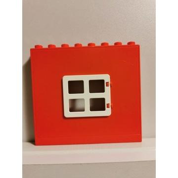 oryginalne LEGO DUPLO czerwona ściana z oknem WAWA