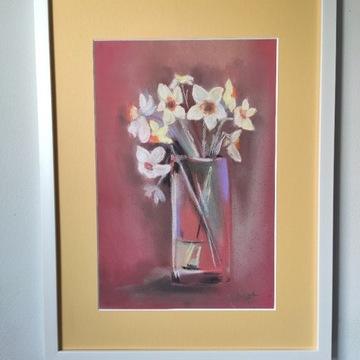 Obraz pastel A4 Kwiaty w szklanym wazonie