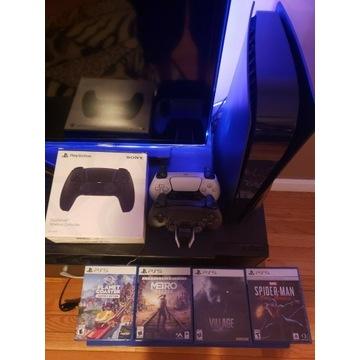 PlayStation 5 (PS5) z 2 joystickami i 4 grami