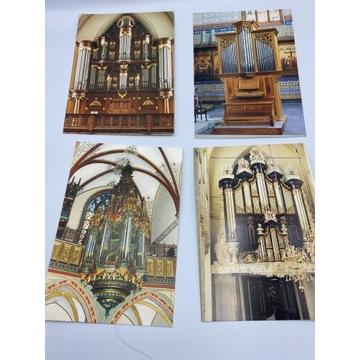 Zestaw czterech pocztówek z organami
