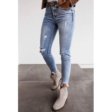 Spodnie damskie dżinsowe z przetarciami -nowe