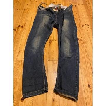 Spodnie motocyklowe MODEKA jeans ochraniacz szelki