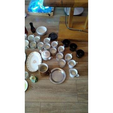 Zestaw PRL sygnowany, porcelana, szkło