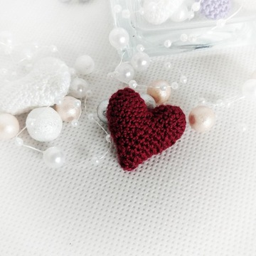 Mini serduszko szydełkowe serce do kartek-bordowe