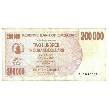 Zimbabwe 200000Dolarów 2008r