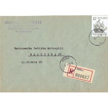 Milicz - Koperty listów poleconych 1960-80