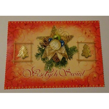 Kartka Boże Narodzenie gwiazda choinki