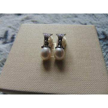 Klipsy z perłami i cyrkoniami Apart srebro 925