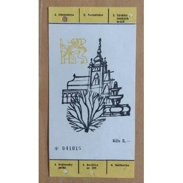 Praga 1973 bilet wstępu na Zamek