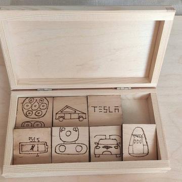 Memory tematyczne Tesla drewniane handmade