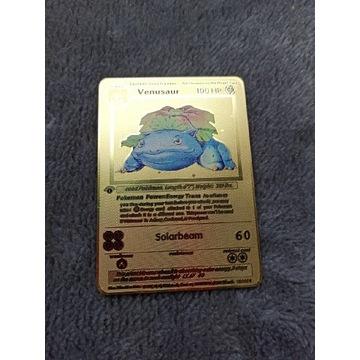 Metalowa złota karta pokemon Venusaur