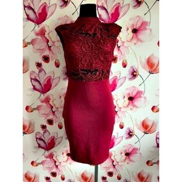 boohoo sukienka gipiura ołówkowa bordowa roz.36