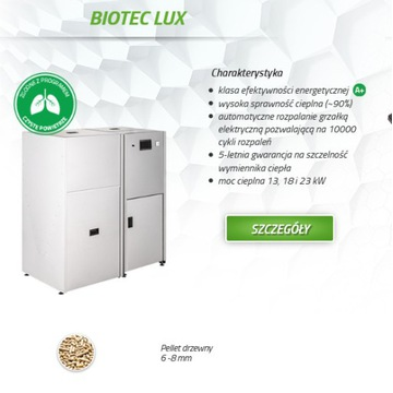 Kocioł Drewmet Biotec LUX 18 kw Pellet Nowość