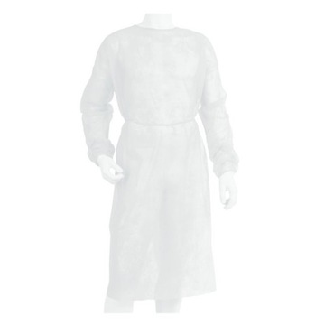 Fartuch włókninowy z mankietem na gumkę biały