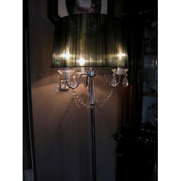 lampa stojąca abażur i kryształki