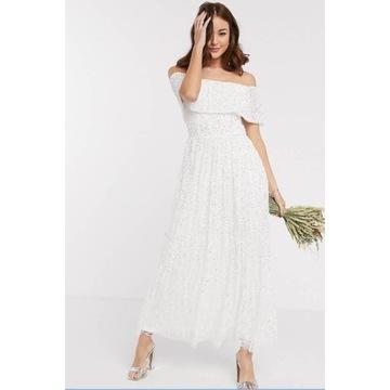 Maya-Nowa Biała sukienka z odsłoniętymi ramionami