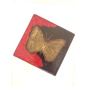 Szkatułka kasetka Kwadrat Motyl 2 piętra