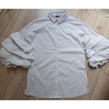 Zara biała koszula oversize bufki bufiaste 34 XS