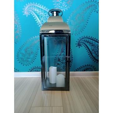 Srebrna metalowa duża latarenka 70 cm.Super ozdoba