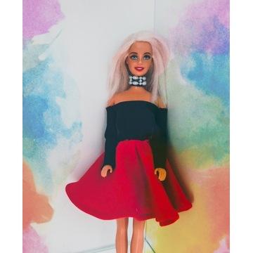 Rockowa stylizacja ubranko sukienka dla lalki
