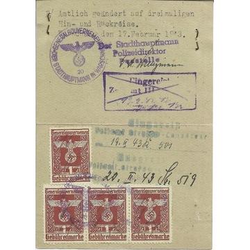 Dokument GG Warszawa 1943
