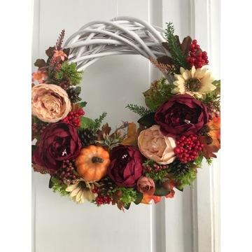 Wianek  jesienny stroik na drzwi piękny duży 40 cm