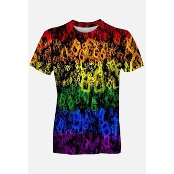 Koszulka t-shirt fulprint męska LGBT tęcza tęczowa