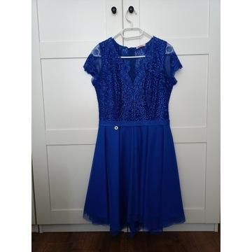 Niebieska sukienka na wesele 40 L z koronką
