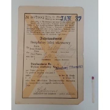 Bilet kolejowy z 1937 roku.