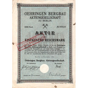 Górnictwo Oehringen S.A. - Berlin 1921 r.