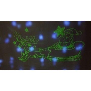 projektor laserowy z animacją mikołaja w ruchu