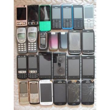 Zestaw 26 szt telefonów Nokia Sony, Samsung