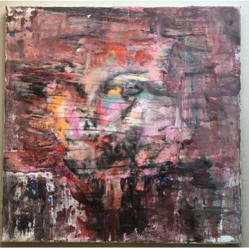 twarz - obraz abstrakcja akryl na płótnie 50x50