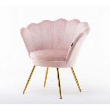 TANIO! Fotel muszelka pudrowy róż złoty glamour