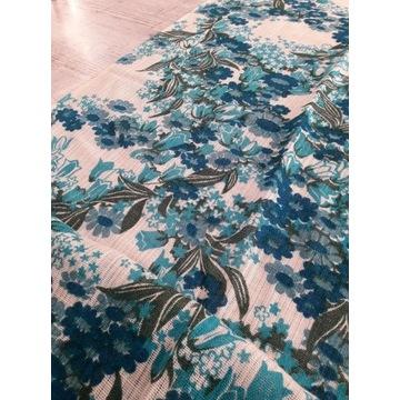 Zasłony turkusowe kwiaty letnie 158/211