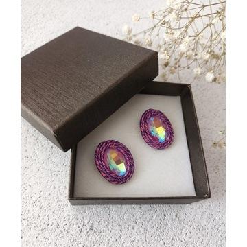 Kolczyki sutasz w kolorze różowym i fioletowym