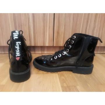 Botki dziewczęce Zara Girls r.37 czarne lakier