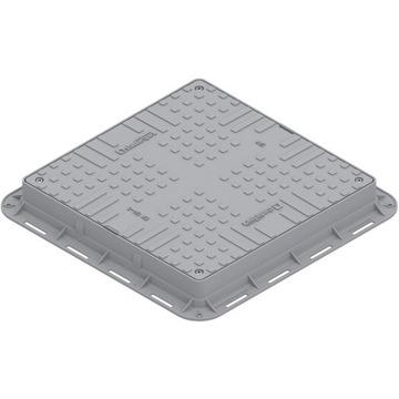 Właz kwadratowy, plastikowy - szary /wzmocniony