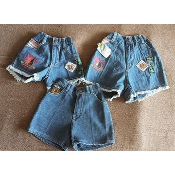 jeansowe krótkie spodenki 3 sztuki NOWE 3-6 lat